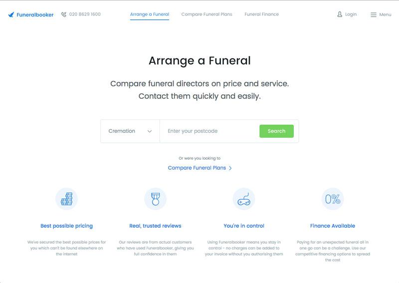 Funeralbooker process, step 1