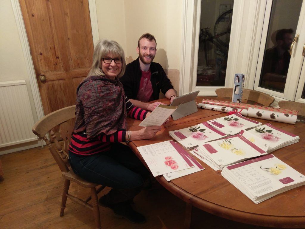 James Dunn and his mum collating Dignity's prices over Christmas