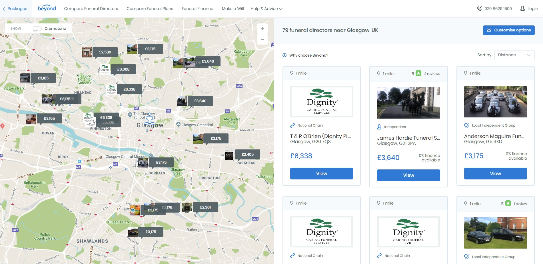 Funeral Prices in Glasgow - screenshot from www.beyond.life