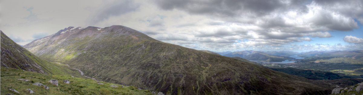 A panoramic view from Ben Nevis, where people are no longer supposed to scatter ashes.