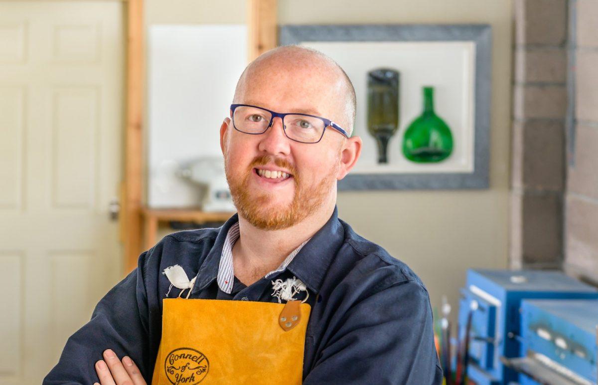 Glassmaker Kenny Scott of Ash Glass Design.