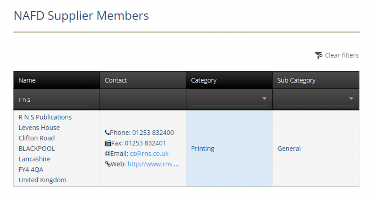 NAFD Supplier Members
