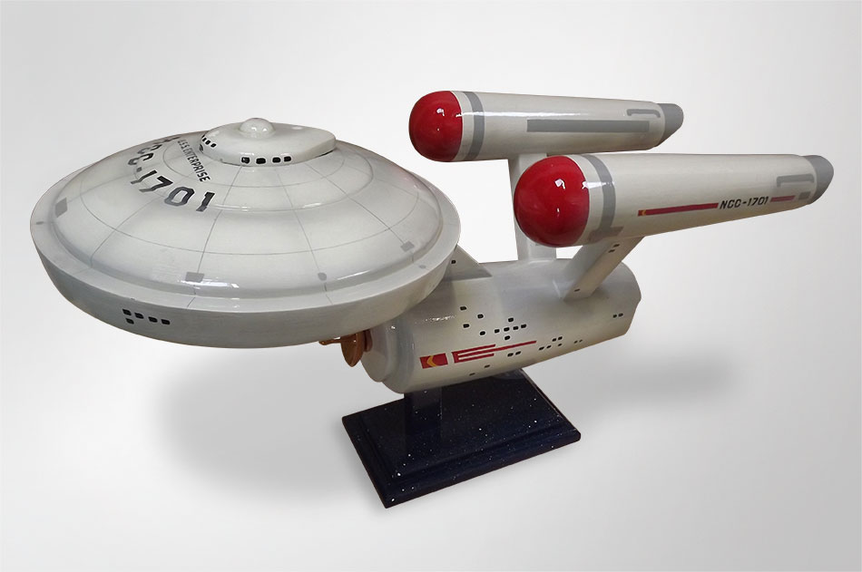 A unusual urn made to look like the Starship Enterprise