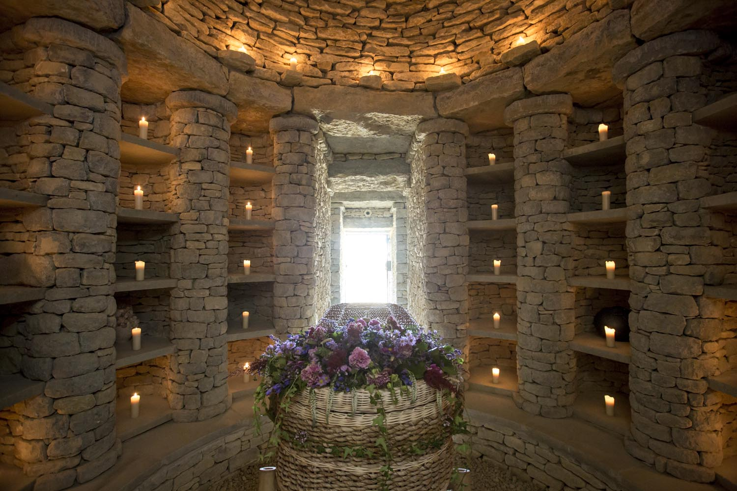 Sacred Stones' columbaria are inspired by ancient long barrows.