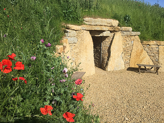 The entrance to Sacred Stones' long barrow columbarium in Cambridgeshire.